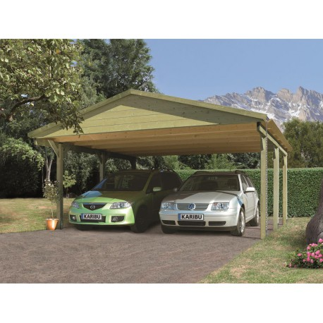 carport double 26 29m en bois autoclave fsc karibu. Black Bedroom Furniture Sets. Home Design Ideas