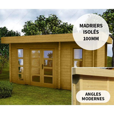Abri en bois 15m² isolation parois 100mm traité marron Gardy Shelter