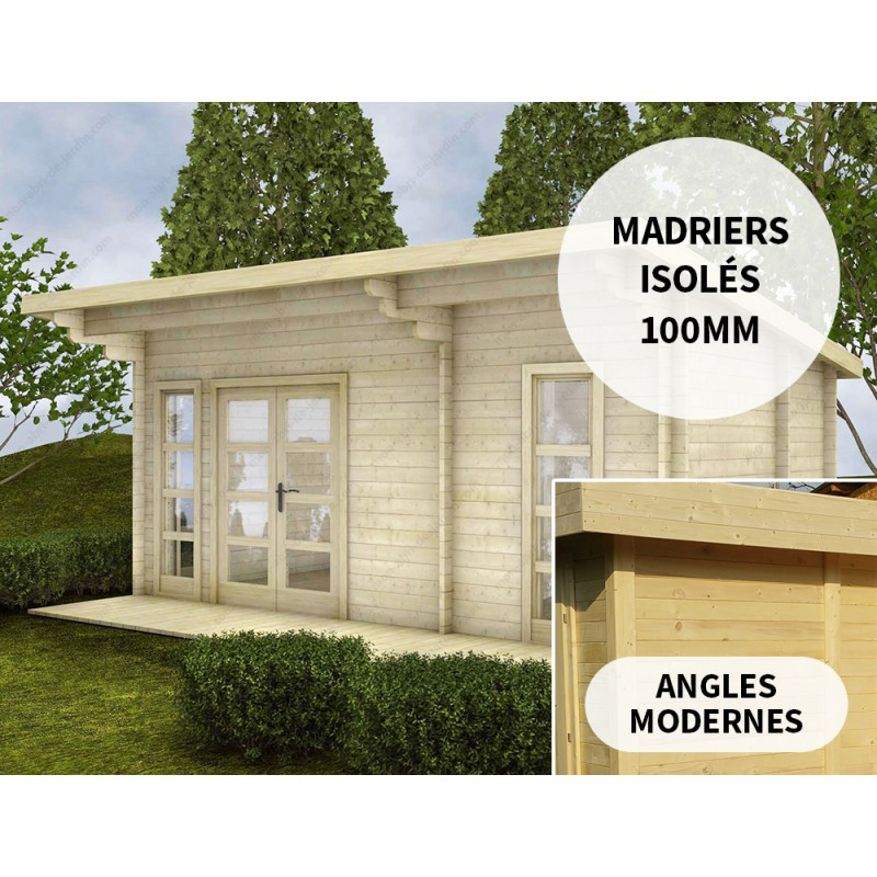 Chalet en bois massif 19m² Isolation madriers 100mm Gardy ...