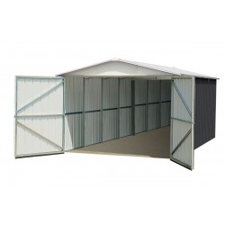Garage métal anthracite 15,50m² + kit d'ancrage inclus - YARDMASTER