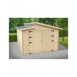 Garage Torino 20,91m² madriers 28mm avec double porte battante - SOLID