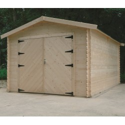Garage en bois massif 18,19m² madriers 28mm SOLID
